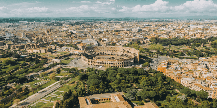 aerial view of colosseum tours rome